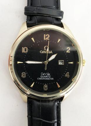 Часы наручные Omega Black ремешок черный (реплика)