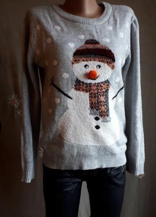 Зимний смешной уютный теплый свитер овер новый год рождество с...