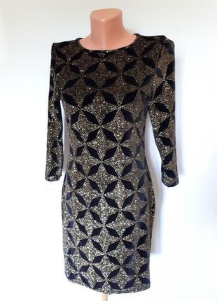 Вечернее велюровое платье с напылением золотым topshop (размер...