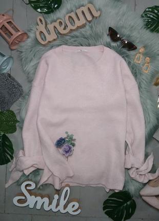 Актуальный свитер джемпер с завязками на рукавах №122