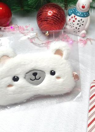 "Плюшевая милая мягкая повязка на глаза для сна ""белый медведик"""