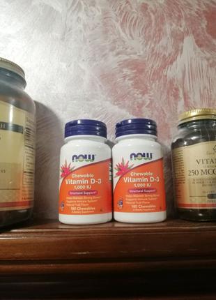 Now Foods Vitamin D3 1000 iu 180 жев. таб. (Д3, холекальциферол)