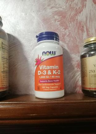 Now Foods Vitamin D3 1000 iu K2 45 mcg 120 капсул Д3/К2 Нау Фудз