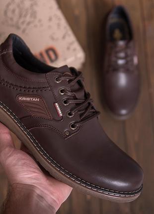 Мужские кожаные туфли Kristan brown демисезон