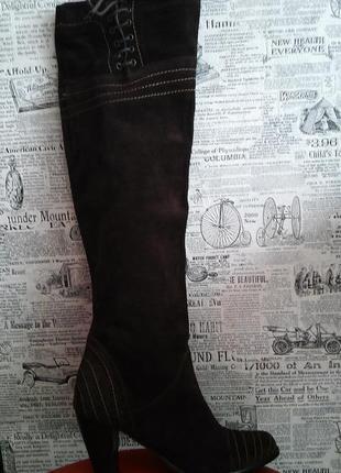 Итальянские замшевые сапоги-ботфорты, шоколадный цвет