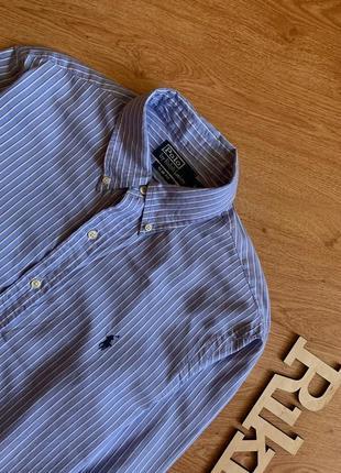 Классическая белая рубашка в полоску синюю polo ralph lauren