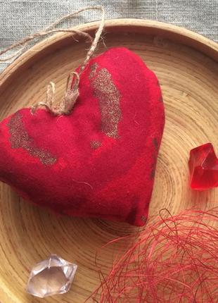 Сердечко валентинка из ткани, презент ручной работы на 14 февраля