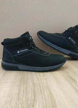 Кожа натуральная черные мужские ботинки высокие на шнурках на ...