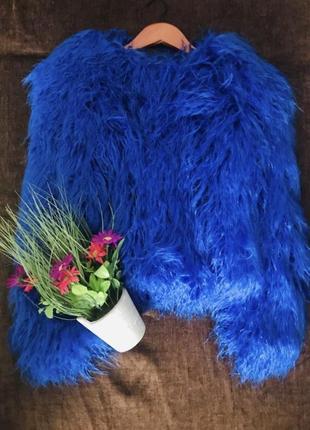 Шуба автоледи из ламы эко мех искусственный мех синий цвет