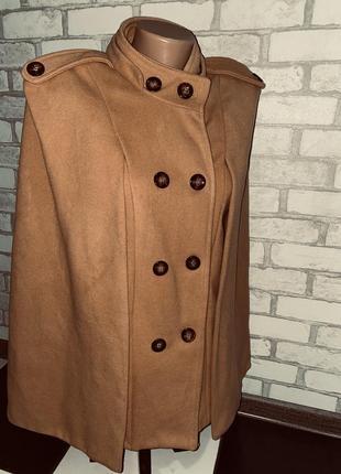 Женские нарядное винтажное пончо пальто бежевое горчичное