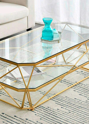 Дизайнерский журнальный столик в стиле лофт со стеклом
