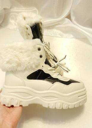 ✅ массивные ботинки с опушкой на платформе  весна осень за счё...