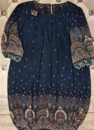 Нарядное платье с этно принтом / большой размер