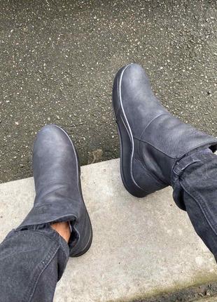 Мужские кожаные черные зимние ботинки