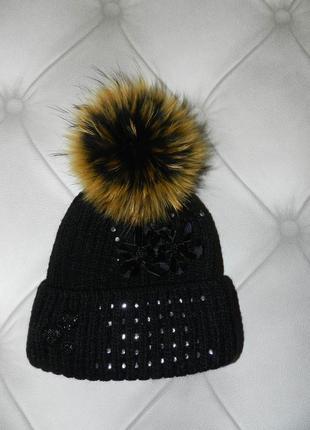 ⛔✅зимняя шапка мех енот утеплитель флис украшена стразами