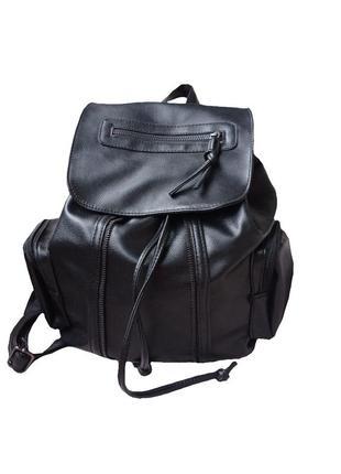 Рюкзак женский городской черный кожзам уценка