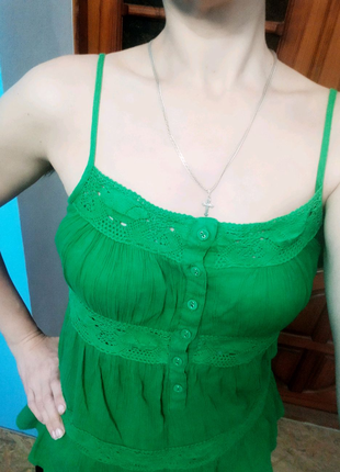 Топ с кружевом зеленый New Look, 12/M/46-48