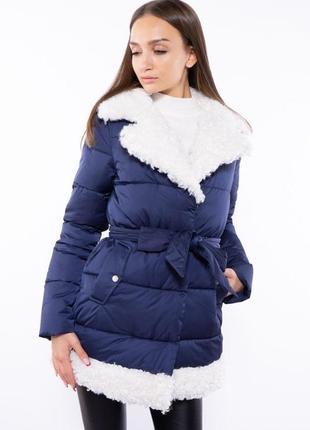 Женская куртка с меховым воротником 120pskl5153 темно-синяя