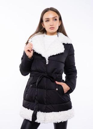 Женская куртка с меховым воротником 120pskl5153 черный