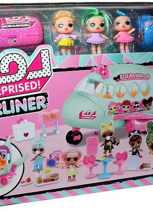 Большой набор с куклами ЛОЛ LOL Самолет, 3 куклы, капсулы