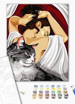Набор картина по номерам кошка и девушка