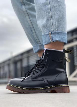 Черные женские демисезонные ботинки dr martens