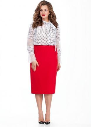 Классическая красная юбка спідниця миди из шлицей