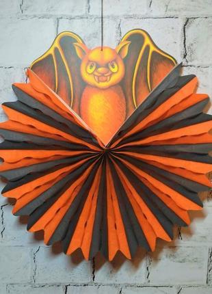 Декор на Хэллоуин, подвеска бумажная, Летучая мышь, диаметр 45 см