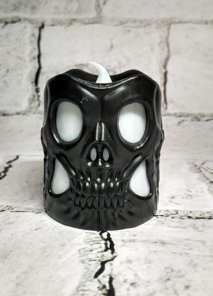LED свеча электронная Череп, черная, 5,5х5 см, декор на Хэллоуин