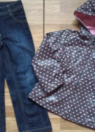 Супер плащик zara  джинсы esprit  на девочку 3 -4 года р 98