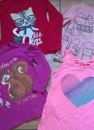 Пакет девочке р 122-128- 3 реглана + футболка и юбочка + плать...