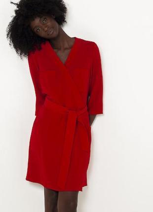 Красное платье сукня на запах с карманами camaïeu