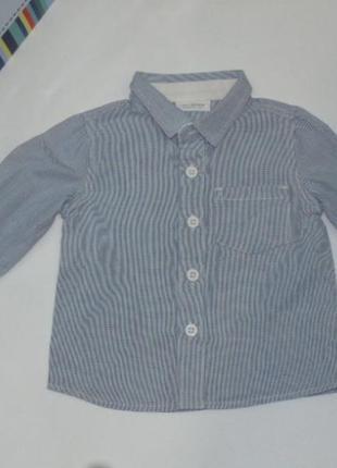 Красивая котоновая рубашка до 3-х месяцев