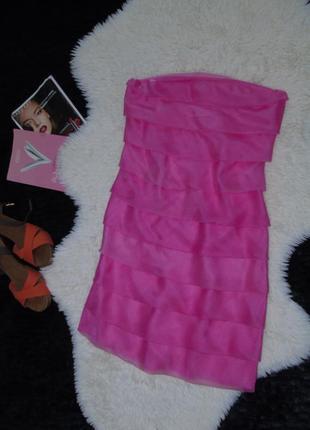 Многослойное платье с шелком