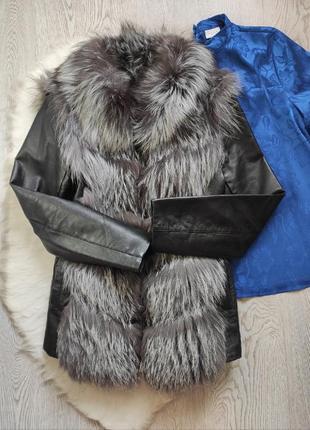 Чернобурка шуба трансформер жилетка короткая кожаная куртка на...