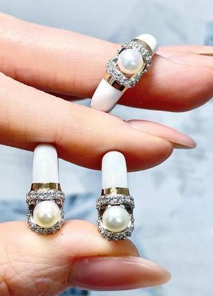 Серебряный набор серьги и кольцо, золотые напайки, жемчуг, эмаль