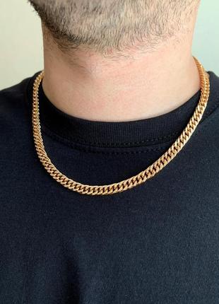 Мужская цепочка медицинское золото 50см, широкая цепочка xupin...