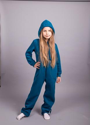 Флисовый комбинезон-костюм футер с начесом цвет морской волны