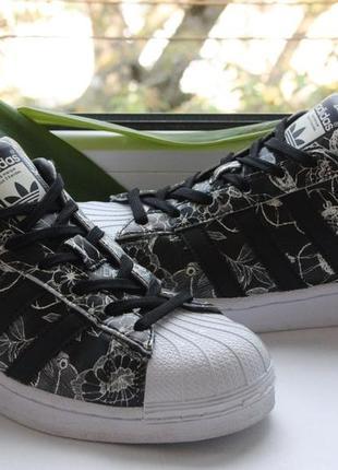 Кроссовки adidas superstar black white floral eqt support ultr...