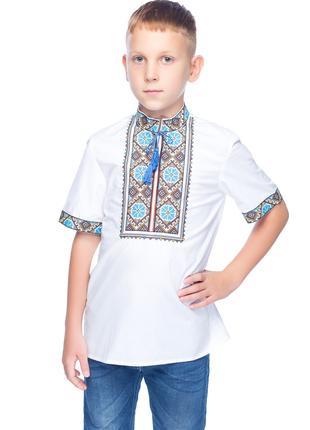 Вишиванка для хлопчика Волошки (міткаль біла)