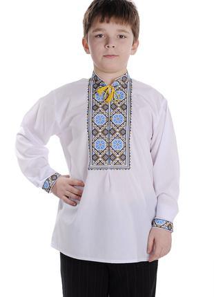 Вишиванка для хлопчика Волошки (сорочкова біла)