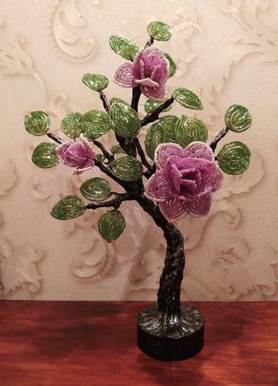 Дерево из бисера с цветами