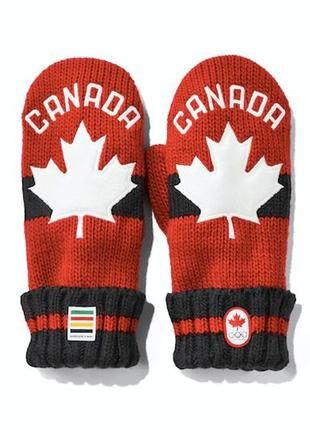 Канадские олимпийские красные  варежки на флисе.