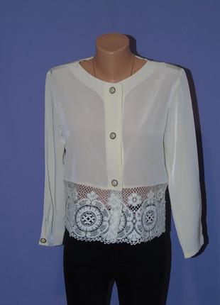 Блузочка бледно-желтого цвета с кружевом по низу