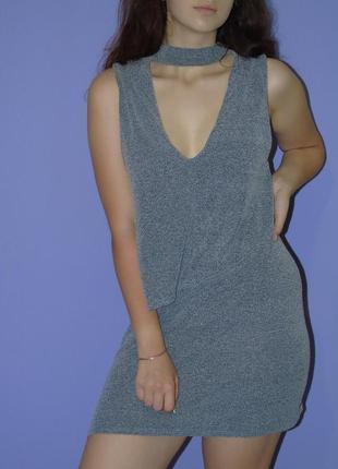 Sparkle& fade платье с чекером серое