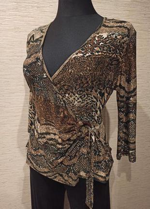 Трикотажная леопардовая блузка