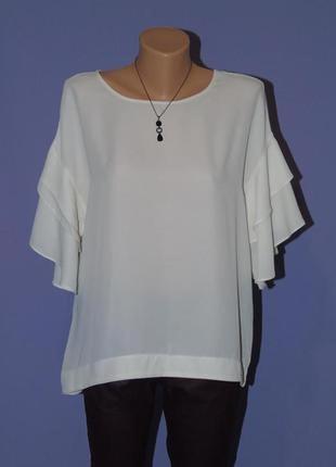 Кремовая блузочка с рюшами на рукавах george