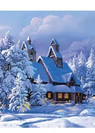 Набор для картины по номерам без рамы *снежная хижина*