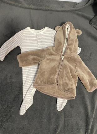 Человечек и меховая кофта для новорожденного