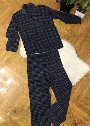 Мужская пижама в клетку клеточку натуральная хлопок cotton фир...